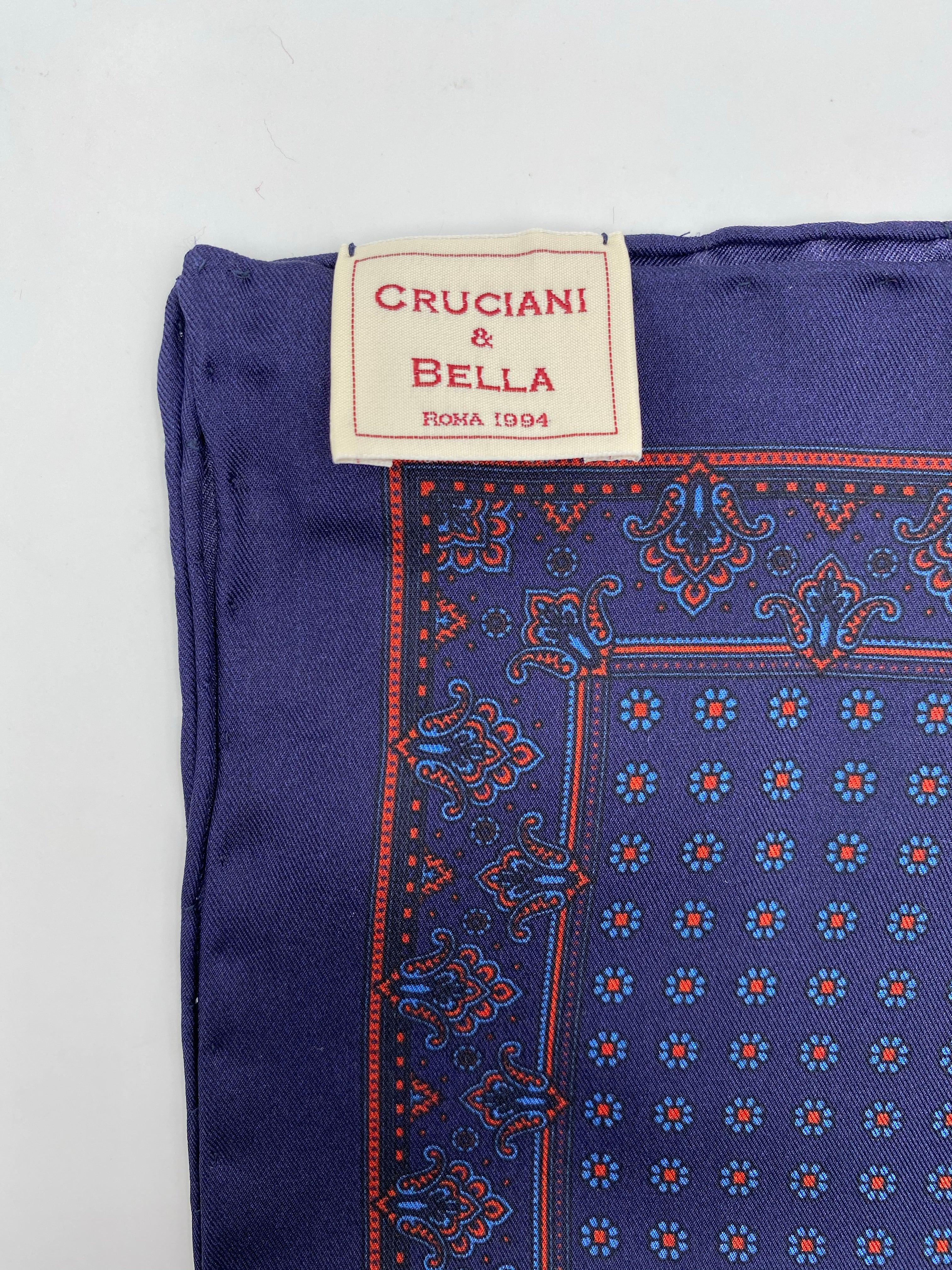 Cruciani & Bella 100% Printed Silk  Hand-rolled Blue and Rust Floral Motif Pocket Square Handmade in England 32 cm  X 32 cm #4540