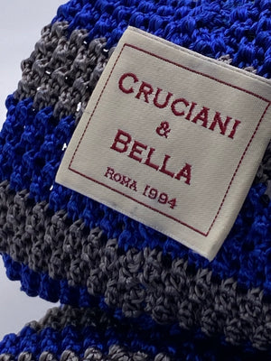 Cruciani & Bella 100% Knitted Silk Light blue and grey stripe tie Handmade in Italy 6 cm x 147 cm