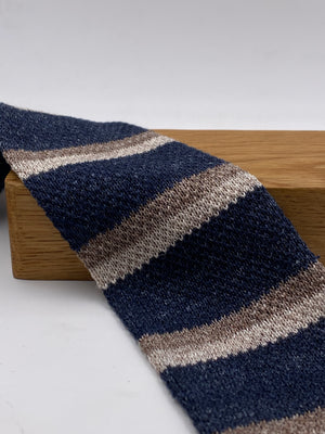 Cruciani & Bella 100% Knitted Linen Blue Jeans, Sand and Beige stripe tie Handmade in Italy 6 cm x 146 cm