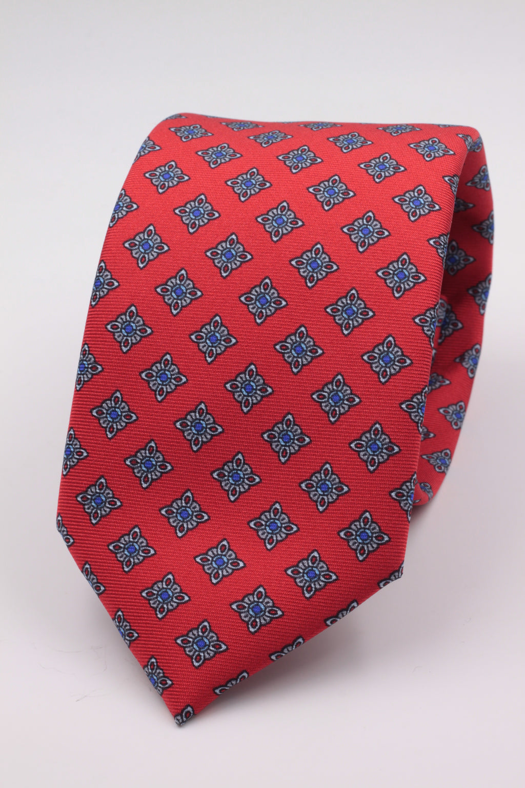 Cruciani & Bella 100% Printed Silk Italian Fabric Self Tipped Red with light grey medallion and Blue dot tie Handmade in Rome 8 cm X 150 cm
