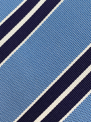 Cruciani & Bella - Silk and Cotton - Light Blue, Navy Blue and White Stripe Tie #4413