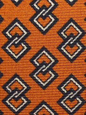 Cruciani & Bella 100% Printed Silk Italian Fabric Self Tipped Orange with White & Dark Blue Motif tie #0124 Handmade in Rome, Italy. 8 x 150 cm