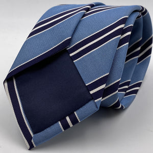 Cruciani & Bella 75% Silk 25% Cotton Jaquard Light Blue, Navy Blue and White Stripe Tie Handmade in Italy 8 x 150 cm