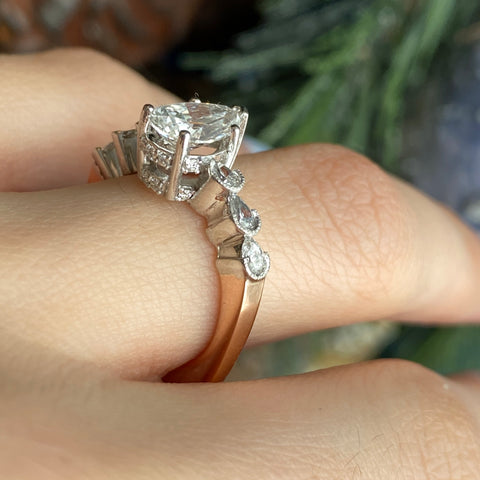 legacy saint jewelry custom ladies engagement ring pear diamond and marquise band