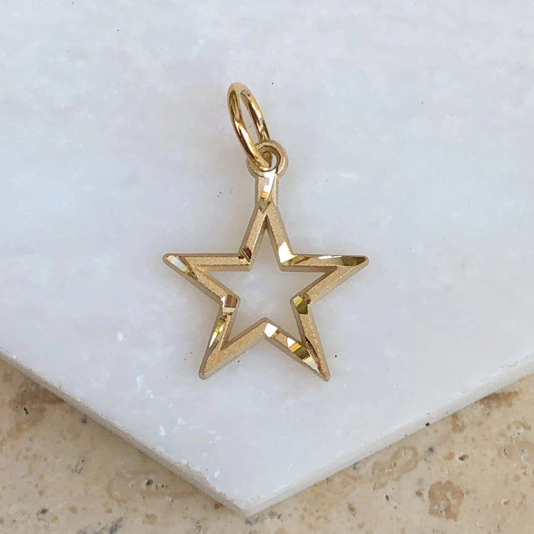 10KT Yellow Gold Diamond-Cut Star Pendant Charm, 10KT Yellow Gold Diamond-Cut Star Pendant Charm - Legacy Saint Jewelry