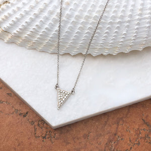 Sterling Silver Diamond Triangle Necklace, Sterling Silver Diamond Triangle Necklace - Legacy Saint Jewelry