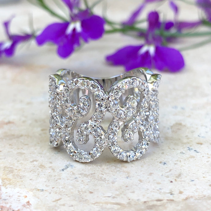 Sterling Silver Pave CZ Filigree Swirl Cigar Band Ring, Sterling Silver Pave CZ Filigree Swirl Cigar Band Ring - Legacy Saint Jewelry