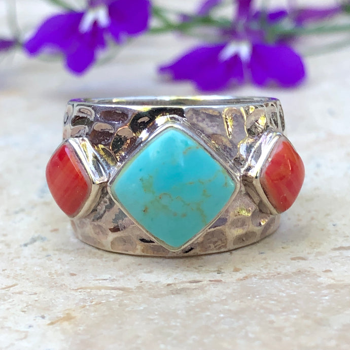 Sterling Silver Genuine Turquoise + Red Coral Hammered Cigar Band Ring, Sterling Silver Genuine Turquoise + Red Coral Hammered Cigar Band Ring - Legacy Saint Jewelry