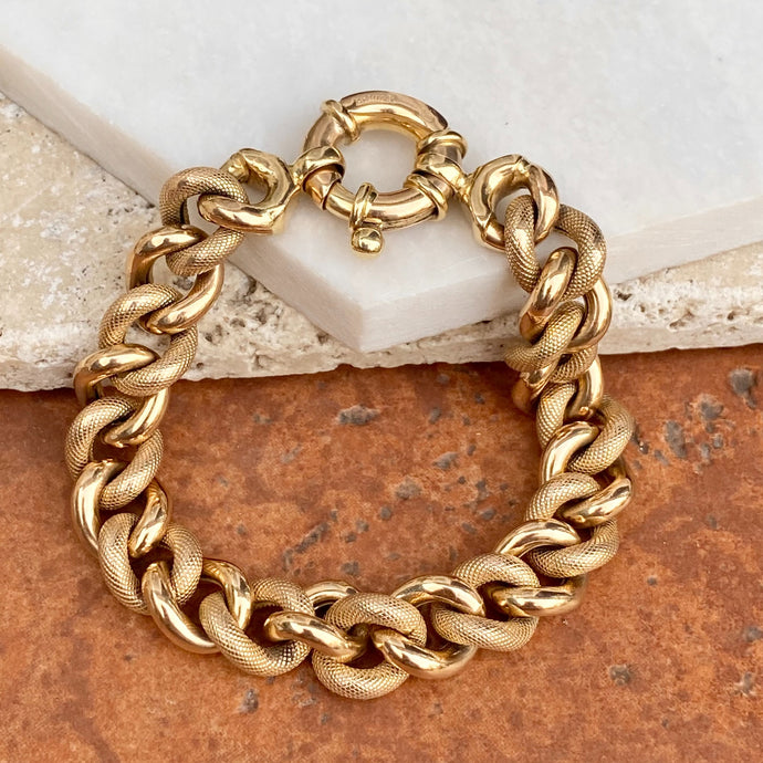 Estate 14KT Yellow Gold Textured Chunky Link Chain Bracelet