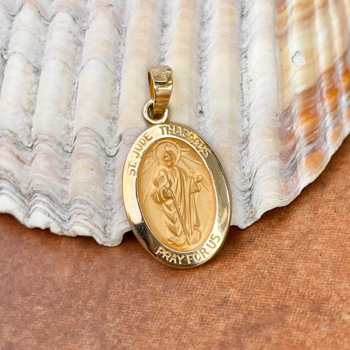 14KT Yellow Gold Saint Jude Thaddeus Oval Medal Pendant 18mm