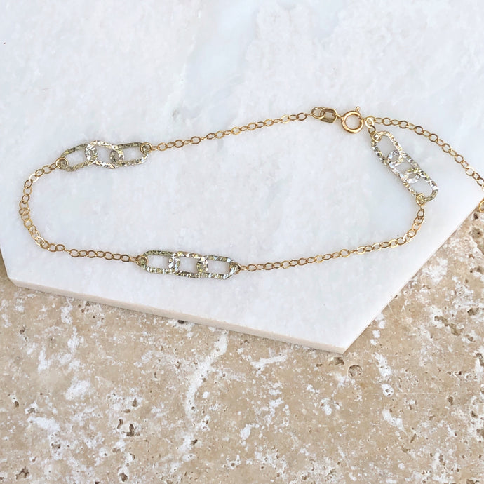 10KT Yellow Gold + White Gold Hammered Link Anklet, 10KT Yellow Gold + White Gold Hammered Link Anklet - Legacy Saint Jewelry