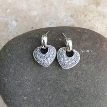 Load image into Gallery viewer, 14KT White Gold + Pave Diamond Heart Earrings, 14KT White Gold + Pave Diamond Heart Earrings - Legacy Saint Jewelry