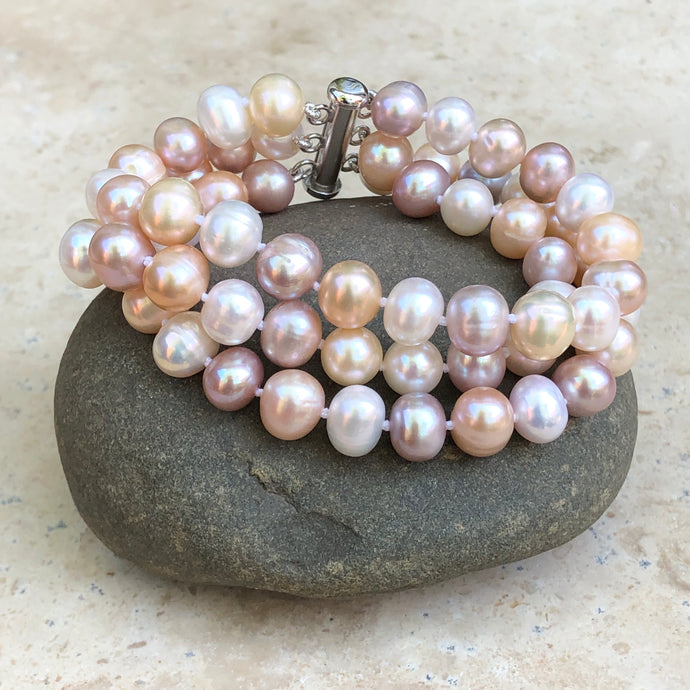 Sterling Silver White + Pink Freshwater Cultured Pearl Triple Strand Bracelet, Sterling Silver White + Pink Freshwater Cultured Pearl Triple Strand Bracelet - Legacy Saint Jewelry