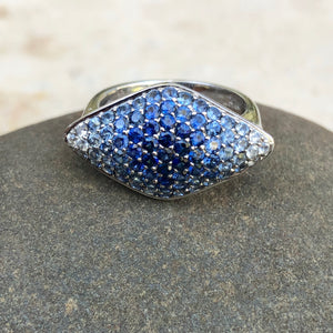 Estate 14KT White Gold Pave Blue Sapphire + Diamond Marquise Ring, Estate 14KT White Gold Pave Blue Sapphire + Diamond Marquise Ring - Legacy Saint Jewelry