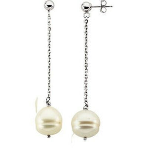14KT White Gold White Freshwater Pearl Dangle Earrings, 14KT White Gold White Freshwater Pearl Dangle Earrings - Legacy Saint Jewelry