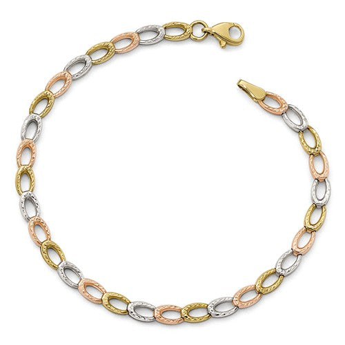 10KT Yellow Gold, Rose Gold + White Gold Diamond-Cut Link Bracelet, 10KT Yellow Gold, Rose Gold + White Gold Diamond-Cut Link Bracelet - Legacy Saint Jewelry