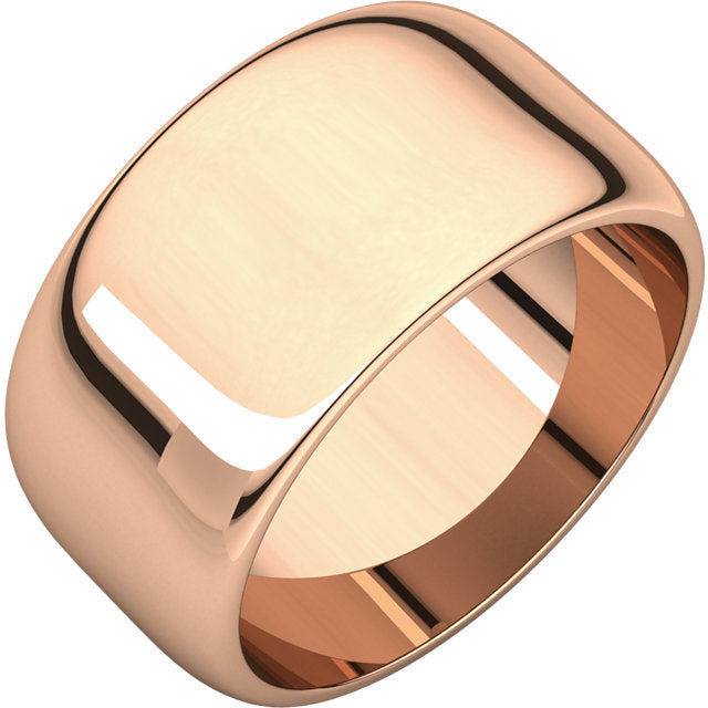 10KT Rose Gold Half Round Cigar Band Ring 10mm, 10KT Rose Gold Half Round Cigar Band Ring 10mm - Legacy Saint Jewelry
