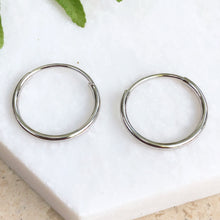 Load image into Gallery viewer, 10KT White Gold Mini Endless Hoop Earrings 15mm, 10KT White Gold Mini Endless Hoop Earrings 15mm - Legacy Saint Jewelry