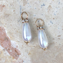 Load image into Gallery viewer, 14KT Yellow Gold Pearl + CZ Stone Earring Charms, 14KT Yellow Gold Pearl + CZ Stone Earring Charms - Legacy Saint Jewelry