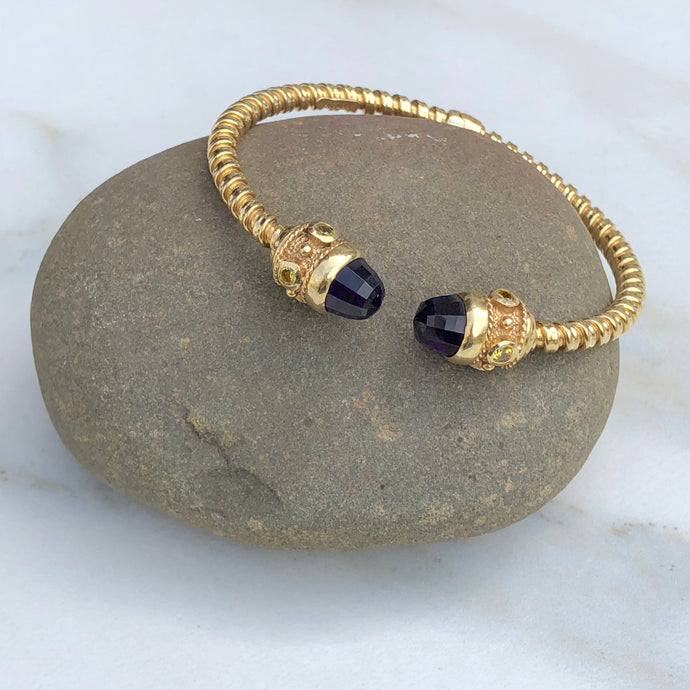 Estate 14KT Yellow Gold Checkerboard Amethyst Briolette + Citrine Bangle Bracelet - Legacy Saint Jewelry