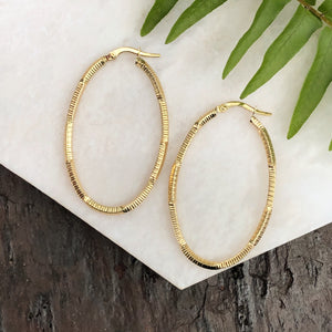 14KT Yellow Gold Textured Patterned Oval Hoop Earrings, 14KT Yellow Gold Textured Patterned Oval Hoop Earrings - Legacy Saint Jewelry