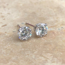Load image into Gallery viewer, 14KT White Gold Round CZ Stud Post Earrings, 14KT White Gold Round CZ Stud Post Earrings - Legacy Saint Jewelry