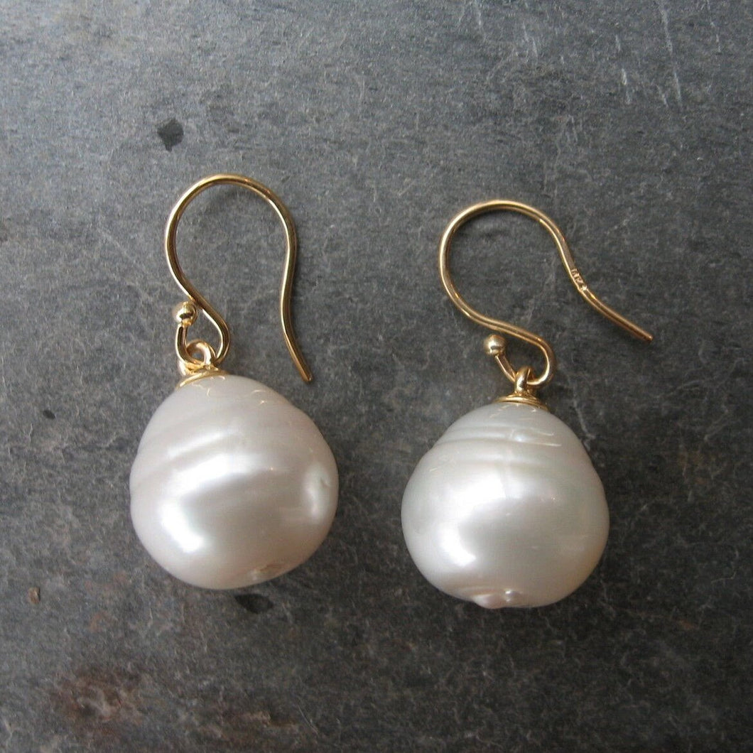 18KT Yellow Gold Paspaley Pearl Shepard Hook Earrings 15mm, 18KT Yellow Gold Paspaley Pearl Shepard Hook Earrings 15mm - Legacy Saint Jewelry