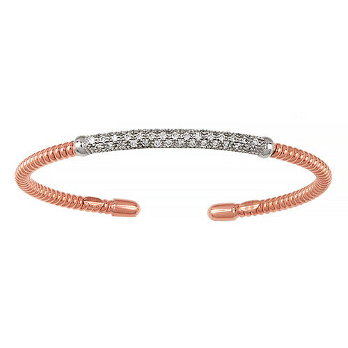18KT Rose Gold Pave Diamond Corrugated Bangle Bracelet, 18KT Rose Gold Pave Diamond Corrugated Bangle Bracelet - Legacy Saint Jewelry