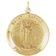 Load image into Gallery viewer, 14KT Yellow Gold Saint Raphael Round Medal Pendant Charm, 14KT Yellow Gold Saint Raphael Round Medal Pendant Charm - Legacy Saint Jewelry