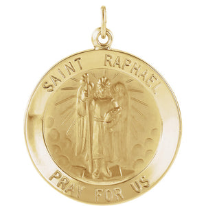 14KT Yellow Gold Saint Raphael Round Medal Pendant Charm, 14KT Yellow Gold Saint Raphael Round Medal Pendant Charm - Legacy Saint Jewelry