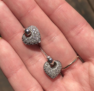 14KT White Gold + Pave Diamond Heart Earrings, 14KT White Gold + Pave Diamond Heart Earrings - Legacy Saint Jewelry