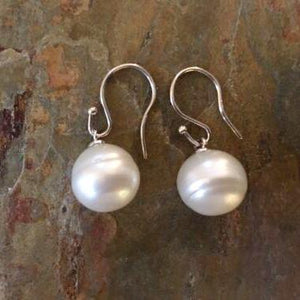 14KT White Gold 12mm Genuine Paspaley South Sea Pearl Shepard Hook Earrings, 14KT White Gold 12mm Genuine Paspaley South Sea Pearl Shepard Hook Earrings - Legacy Saint Jewelry