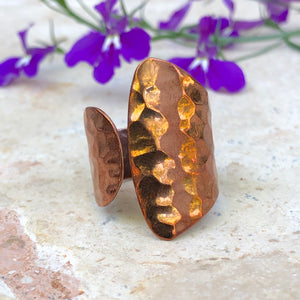 Copper Hammered Negative Space Ring, Copper Hammered Negative Space Ring - Legacy Saint Jewelry