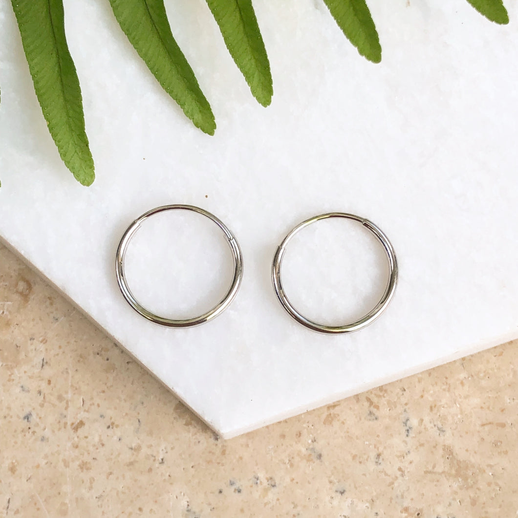 10KT White Gold Mini Endless Hoop Earrings 15mm, 10KT White Gold Mini Endless Hoop Earrings 15mm - Legacy Saint Jewelry