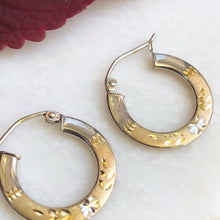 Load image into Gallery viewer, 10KT Yellow Gold Diamond-Cut Hoop Earrings, 10KT Yellow Gold Diamond-Cut Hoop Earrings - Legacy Saint Jewelry