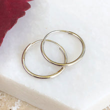 Load image into Gallery viewer, 14KT White Gold Thin Endless Hoop Earrings 12mm, 14KT White Gold Thin Endless Hoop Earrings 12mm - Legacy Saint Jewelry