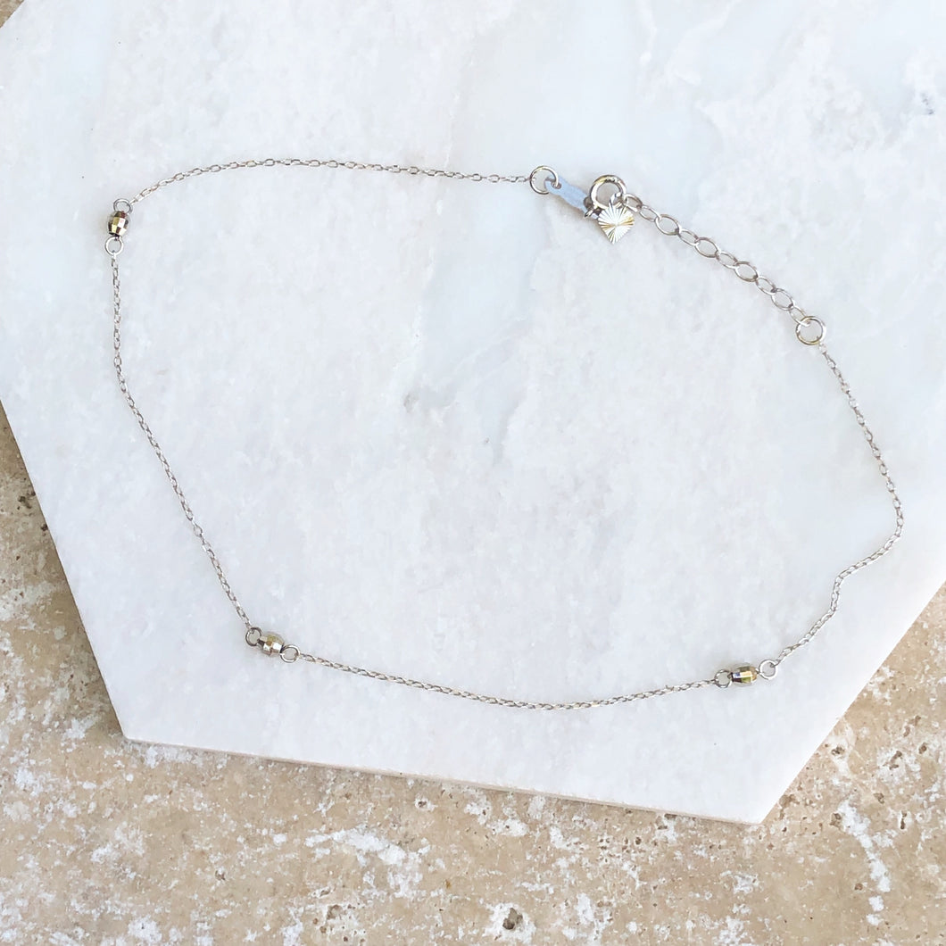 14KT White Gold Puffed Rice Bead Anklet, 14KT White Gold Puffed Rice Bead Anklet - Legacy Saint Jewelry