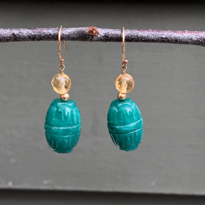 14KT Yellow Gold Carved Green Jade Scarab Drop Earrings, 14KT Yellow Gold Carved Green Jade Scarab Drop Earrings - Legacy Saint Jewelry
