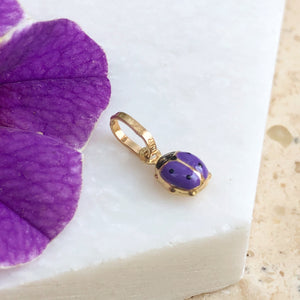 14KT Yellow Gold Purple Mini Ladybug Pendant Charm, 14KT Yellow Gold Purple Mini Ladybug Pendant Charm - Legacy Saint Jewelry