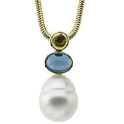 14KT Yellow Gold Peridot, Blue Topaz, + Paspaley Pearl Pendant, 14KT Yellow Gold Peridot, Blue Topaz, + Paspaley Pearl Pendant - Legacy Saint Jewelry