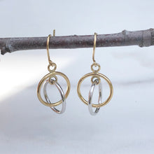 Load image into Gallery viewer, 10KT Yellow Gold + White Gold Double Circle Earrings, 10KT Yellow Gold + White Gold Double Circle Earrings - Legacy Saint Jewelry