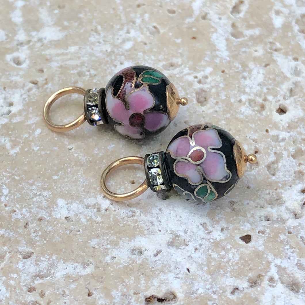 14KT Yellow Gold Black + Pink Multi Color CZ Cloisonne Ball Earring Charms, 14KT Yellow Gold Black + Pink Multi Color CZ Cloisonne Ball Earring Charms - Legacy Saint Jewelry