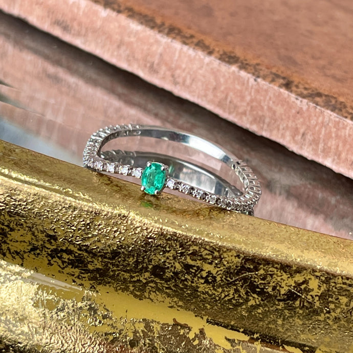 Estate 14KT White Gold Oval Emerald + Diamond Chain Link Ring