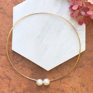 14KT Yellow Gold + Paspaley Pearl Neck Wire Collar Necklace, 14KT Yellow Gold + Paspaley Pearl Neck Wire Collar Necklace - Legacy Saint Jewelry