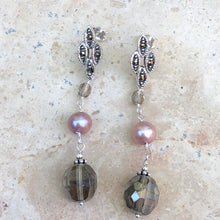 Load image into Gallery viewer, Sterling Silver Freshwater Cultured Cream Pearl + Glass Dangle Earrings, Sterling Silver Freshwater Cultured Cream Pearl + Glass Dangle Earrings - Legacy Saint Jewelry