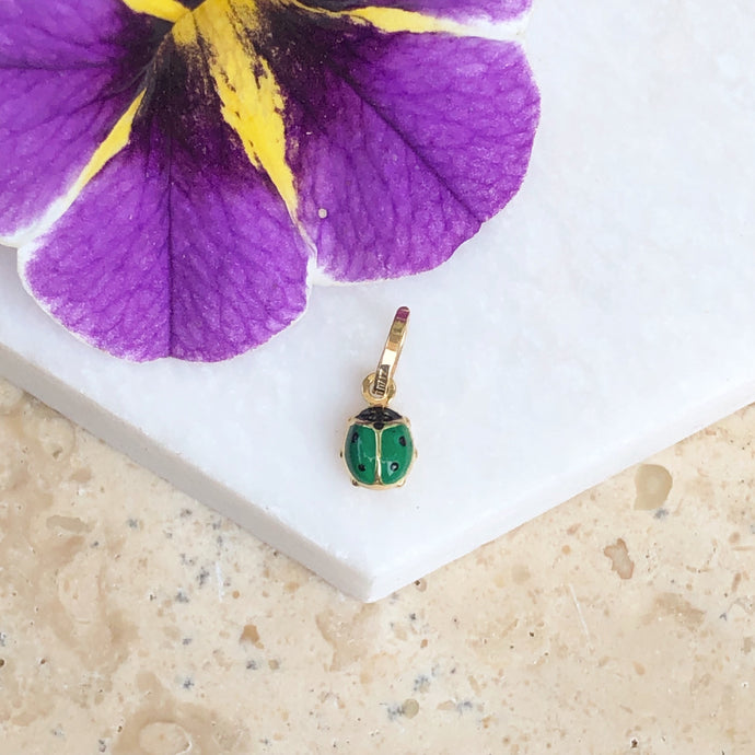 14KT Yellow Gold Green Mini Ladybug Pendant Charm, 14KT Yellow Gold Green Mini Ladybug Pendant Charm - Legacy Saint Jewelry