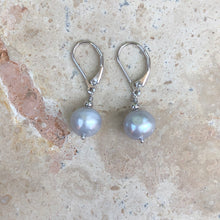Load image into Gallery viewer, Sterling Silver Gray Baroque Pearl Leverback Earrings, Sterling Silver Gray Baroque Pearl Leverback Earrings - Legacy Saint Jewelry