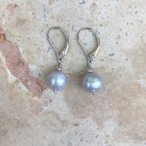 Sterling Silver Gray Baroque Pearl Leverback Earrings, Sterling Silver Gray Baroque Pearl Leverback Earrings - Legacy Saint Jewelry