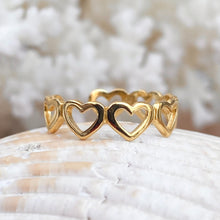 Load image into Gallery viewer, Gold Plated Sterling Silver Open Hearts Toe Ring