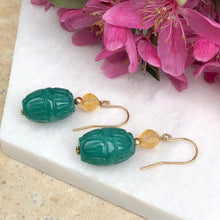 Load image into Gallery viewer, 14KT Yellow Gold Carved Green Jade Scarab Drop Earrings, 14KT Yellow Gold Carved Green Jade Scarab Drop Earrings - Legacy Saint Jewelry